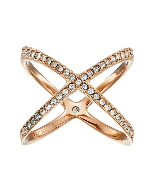 Michael Kors | Pink Brilliance Pave X Ring | Lyst