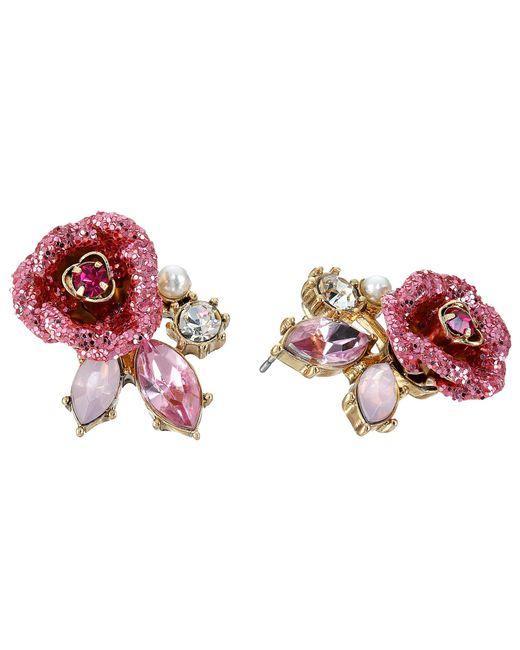 Betsey Johnson   Pink Gold-tone Glitter Rose Mismatch Stud Earrings   Lyst