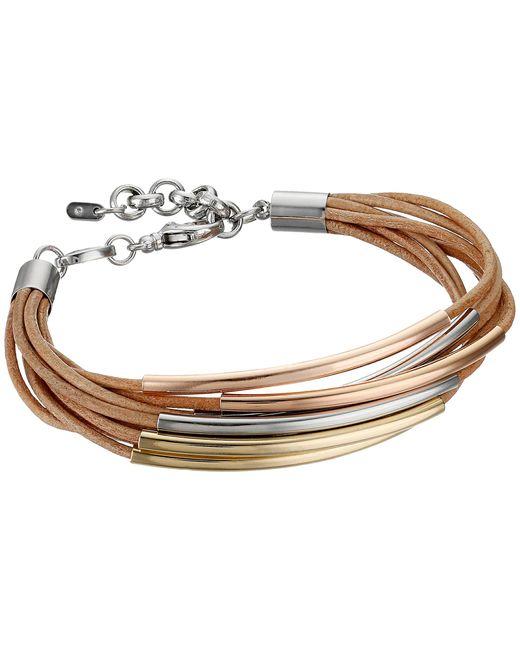 Fossil   Metallic Mini Leather Corded Bracelet   Lyst