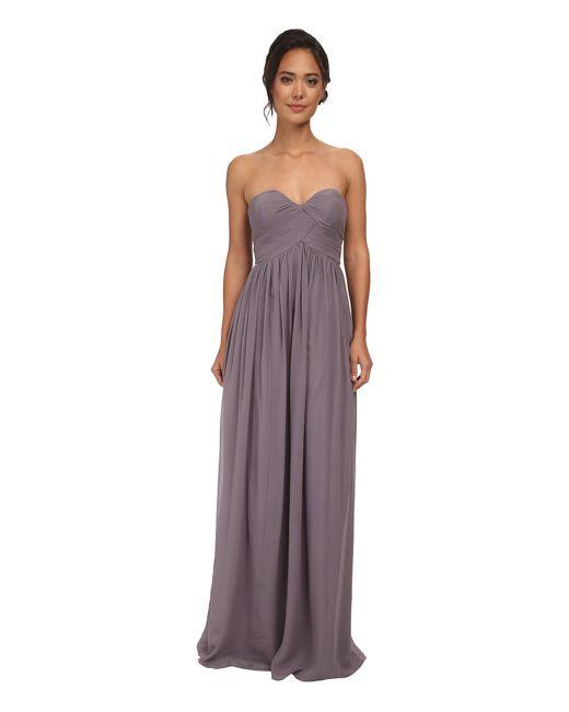 Donna Morgan | Gray Laura Long Chiffon Gown Dress | Lyst