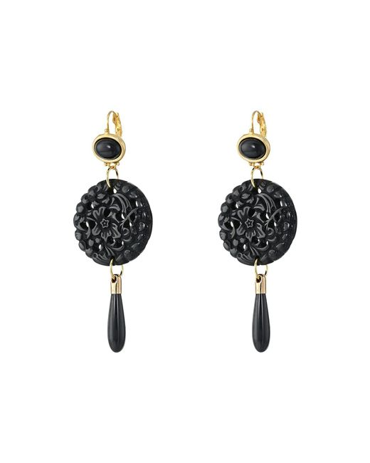 Kenneth Jay Lane   Black Small Top/round Carved Bottom W/ Drop Earrings   Lyst