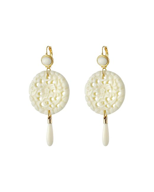 Kenneth Jay Lane | White Large Top/round Carved Bottom W/ Drop Earrings | Lyst