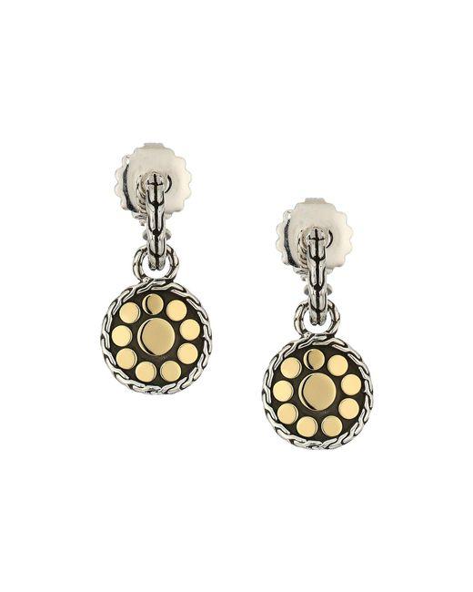 John Hardy - Metallic Dot Drop Earrings In 18k Gold (silver) Earring - Lyst
