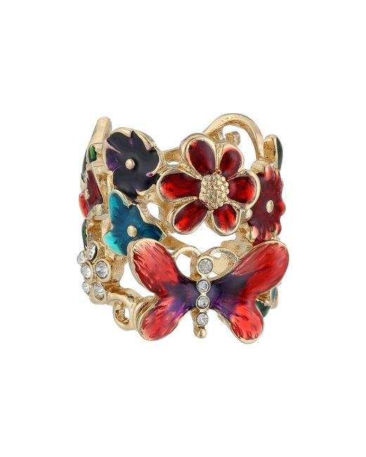 Guess - Multicolor Butterfly Flower Ring - Lyst
