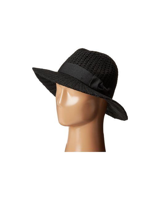 San Diego Hat Company | Black Cth4117 Woven Yarn Stitch Fedora With Grosgrain Bow | Lyst