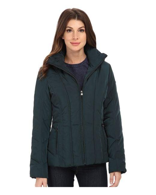 Calvin Klein | Blue Short Down Coat W/ Untrimmed Hood | Lyst