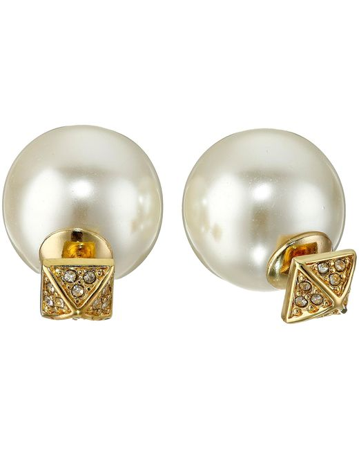 Rebecca Minkoff | Metallic Two Part Pave/pearl Earrings | Lyst