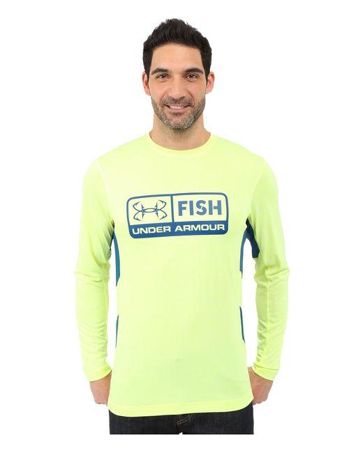 Under armour ua fish hunter tech long sleeve in green for for Under armour men s ua fish hunter short sleeve shirt