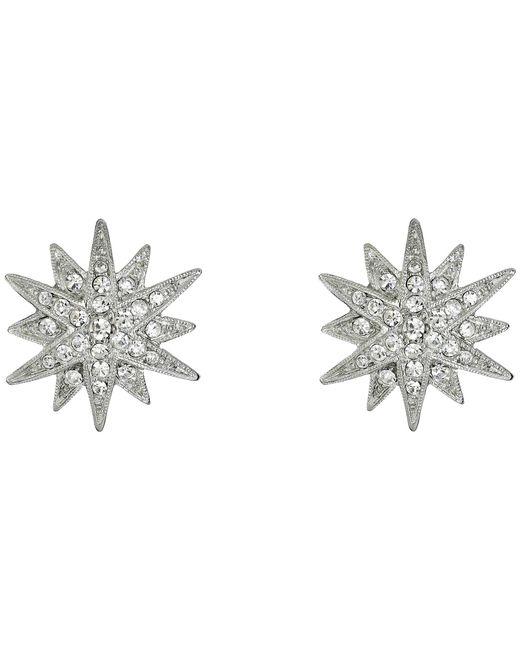 Kenneth Jay Lane | Metallic Rhodium And Rhinestone Starburst Clip Earrings | Lyst