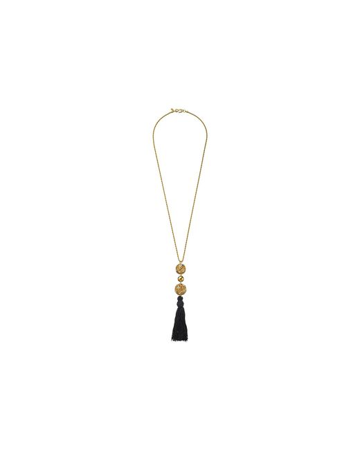 Kenneth Jay Lane   Metallic Gold Chain With Gold And Crystal Ball And Black Tassel Necklace   Lyst