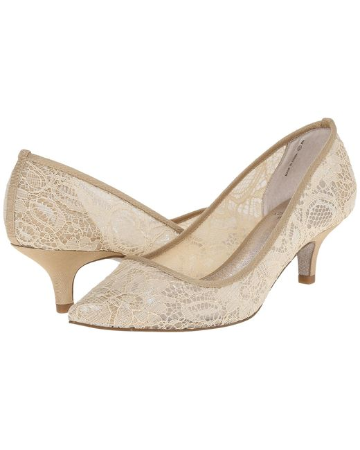 kitten heel wedding shoes papell lois lace in lyst 5325