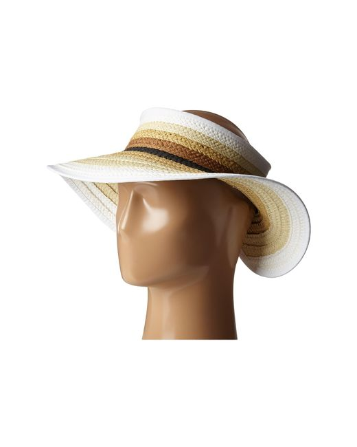 San Diego Hat Company | Natural Pbv007 Paper Braid Adjustable Roll Up Visor With Ribbon Edge | Lyst