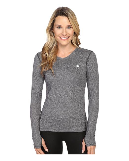 New Balance | Black Heathered Long Sleeve Shirt | Lyst