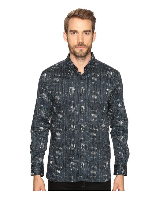 7 Diamonds   Blue Etched Out Long Sleeve Shirt for Men   Lyst
