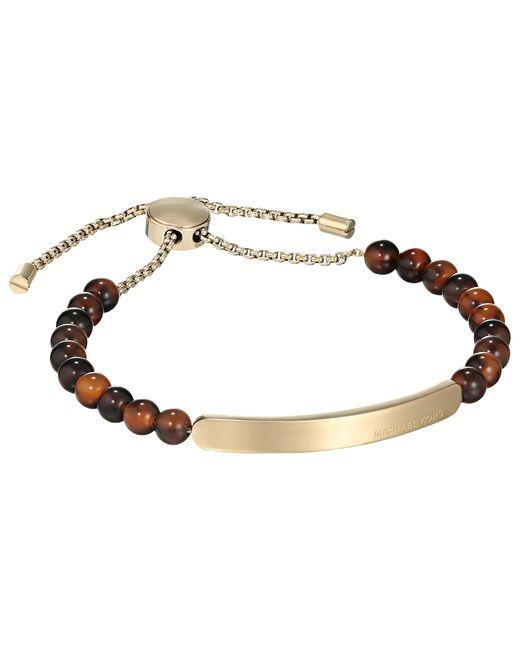 Michael Kors   Brown Beaded Logo Id Toggle Bracelet   Lyst