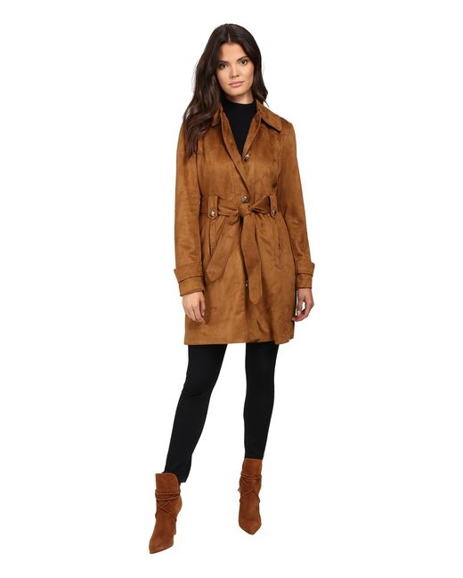 Jessica Simpson | Blue Sueded Rain Trench With Stitching Detail Single Breasted Belted | Lyst