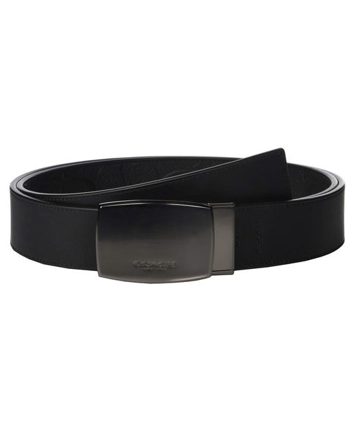 831d214681c9 ... COACH - Black 38 Mm Classic Plaque Cut To Size reversible Signature  Crossgrain Belt (