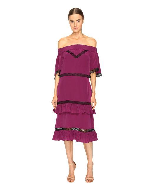 Prabal Gurung | Purple Off Shoulder Tiered Ruffle Dress | Lyst