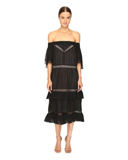 Prabal Gurung   Black Off Shoulder Tiered Ruffle Dress   Lyst