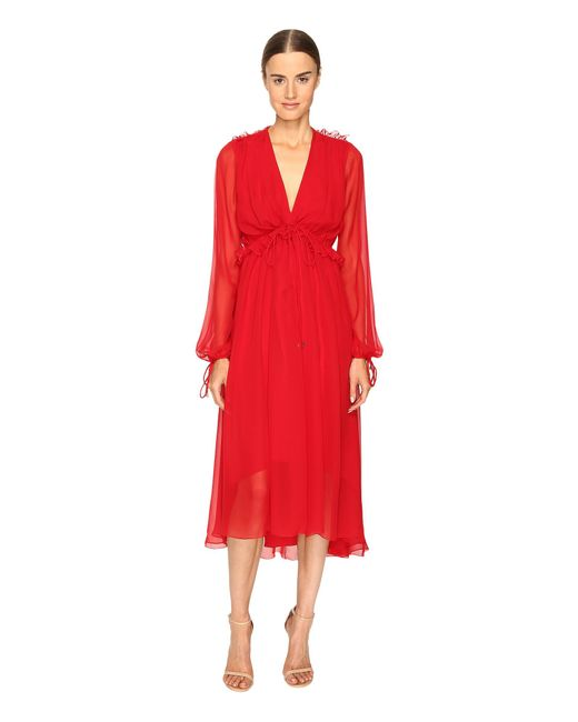 Prabal Gurung | Red Long Sleeve Chiffon Flounce Dress | Lyst