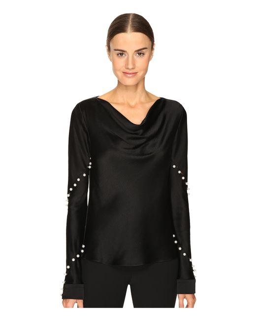 Prabal Gurung | Black Long Sleeve Cowl Neck Blouse W/ Pearls | Lyst