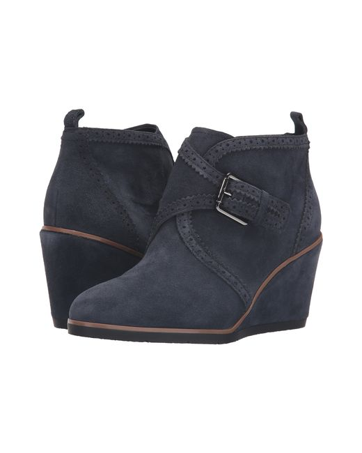 Franco Sarto | Blue Arielle Suede Wedge Boots | Lyst