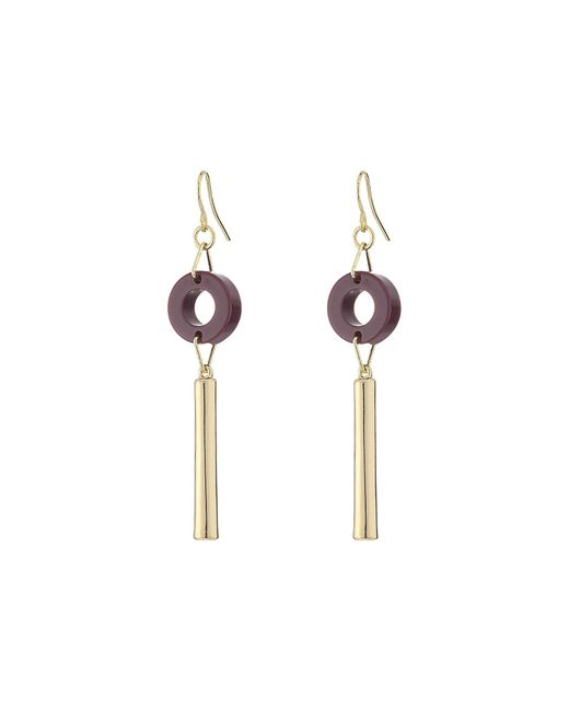 French Connection | Metallic Circle Disc Tube Linear French Wire Earrings | Lyst
