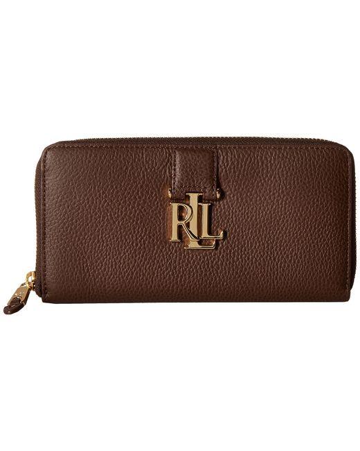 Lauren by Ralph Lauren | Brown Carrington Zip Wallet | Lyst
