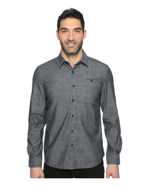 Kenneth Cole | Gray Long Sleeve Button Down Collar Solid Flannel for Men | Lyst