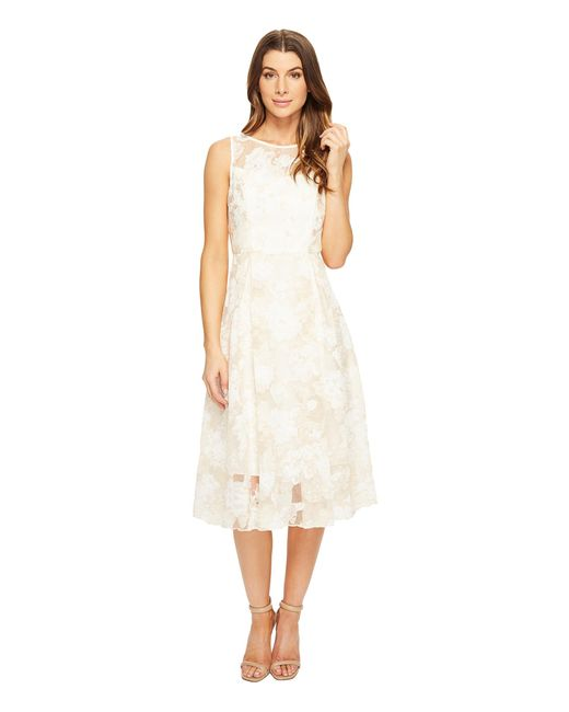 Adrianna Papell   White Printed Organza Fit And Flare Midi   Lyst