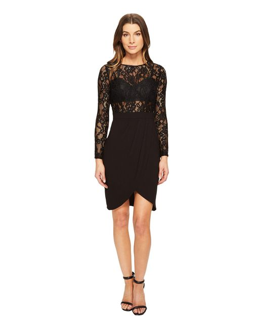 Aidan Mattox | Black Long Sleeve Lace & Crepe Cocktail Dress With Illusion Detail | Lyst