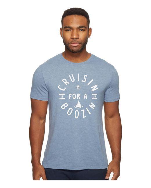 Original Penguin | Blue Short Sleeve Cruisin For A Boozin Tee for Men | Lyst