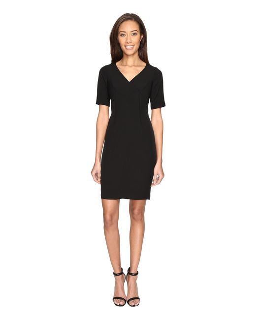 Adrianna Papell | Black Exposed Dart Stretch Crepe Dress | Lyst