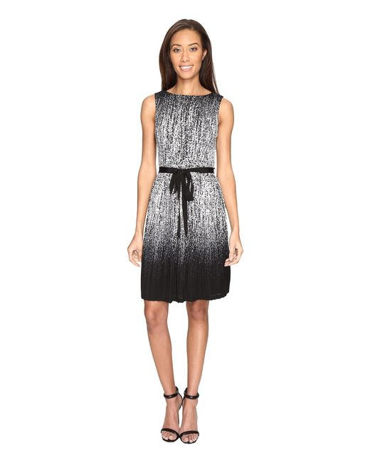 Adrianna Papell | Black Printed Miami Mesh Fit And Flare Dress With Full Pleated Skirt | Lyst