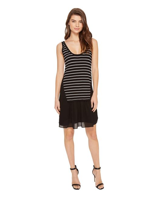 Nicole Miller | Black Sara Striped Combo Shift Dress | Lyst