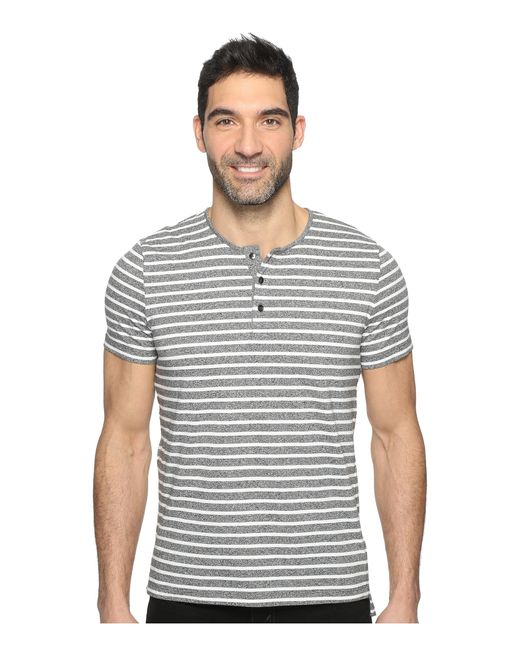 Kenneth Cole | Black Short Sleeve Marled Stripe Henley for Men | Lyst