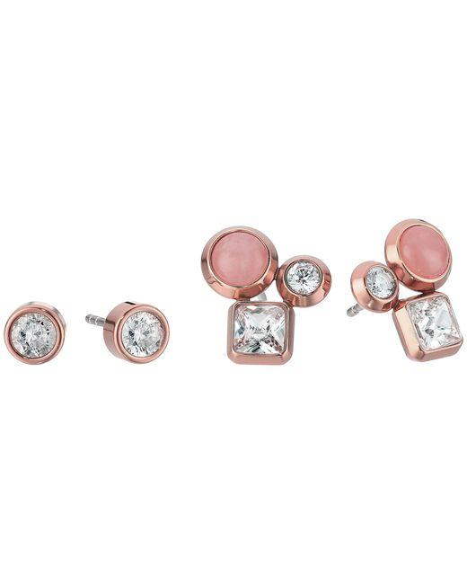 Michael Kors | Multicolor Tone Crystal And Rose Quartz Cluster Stud Earrings Set | Lyst