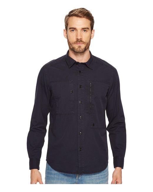 G-Star RAW | Blue Powel Shirt Long Sleeve for Men | Lyst