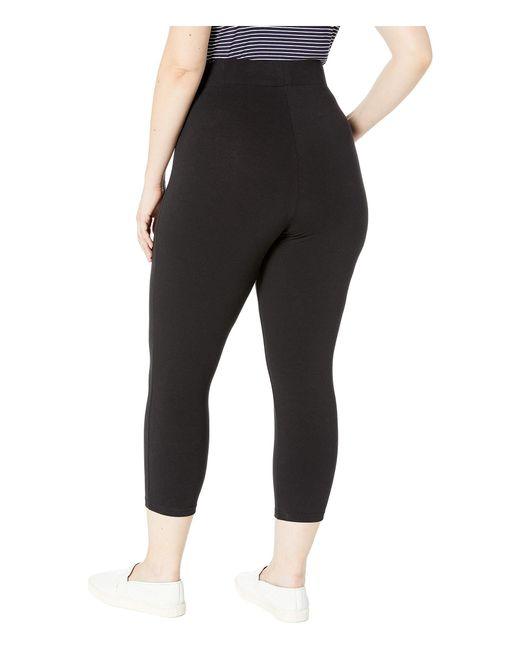 89be5a91ce0 ... Hue - Plus Size Wide Waistband Blackout Cotton Capri Leggings (black) Women s  Casual Pants ...