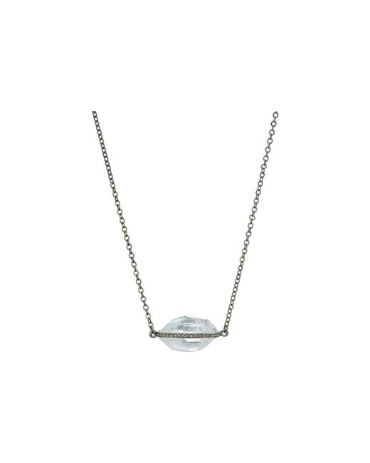 French Connection - Metallic Stone Pave Pendant Necklace 32 (aqua) Necklace - Lyst