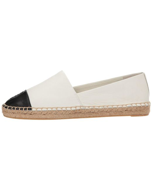 fcf1a6a02b68 ... Tory Burch - White Color Block Flat Espadrille (ivory black Leather)  Women s Shoes ...
