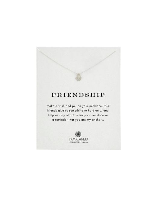 Dogeared - Metallic Friendship Anchor Reminder Necklace (sterling Silver) Necklace - Lyst
