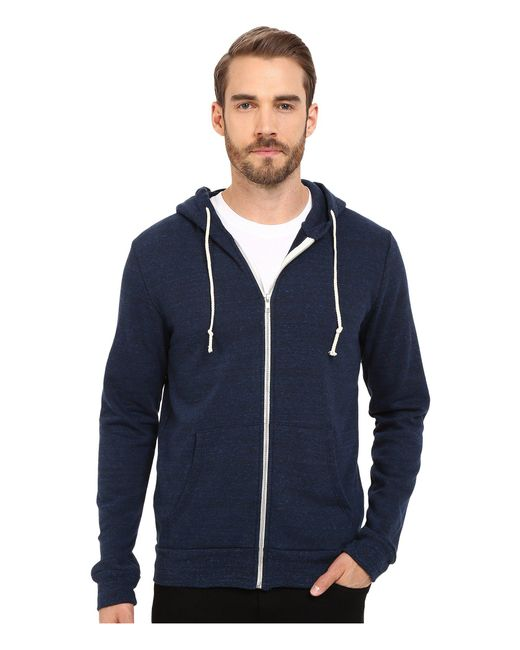 Threads For Thought - Blue Triblend Zip Front Hoodie (heather Black) Men's Sweatshirt for Men - Lyst
