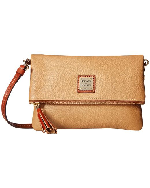 Dooney & Bourke - Multicolor Pebble Fold-over Zip Crossbody (ecru/tan Trim) Cross Body Handbags - Lyst