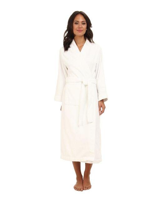 Lauren by Ralph Lauren - White Greenwich Woven Terry Long Robe - Lyst