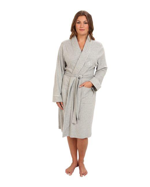 Lauren by Ralph Lauren - Gray Plus Size Essentials Quilted Collar And Cuff Robe (navy) Women's Robe - Lyst