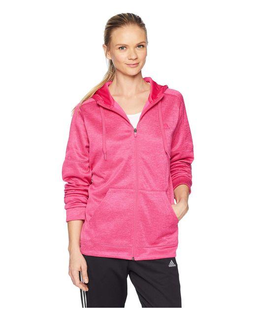Adidas - Pink Team Issue Full Zip Hoodie (black/black) Women's Sweatshirt - Lyst