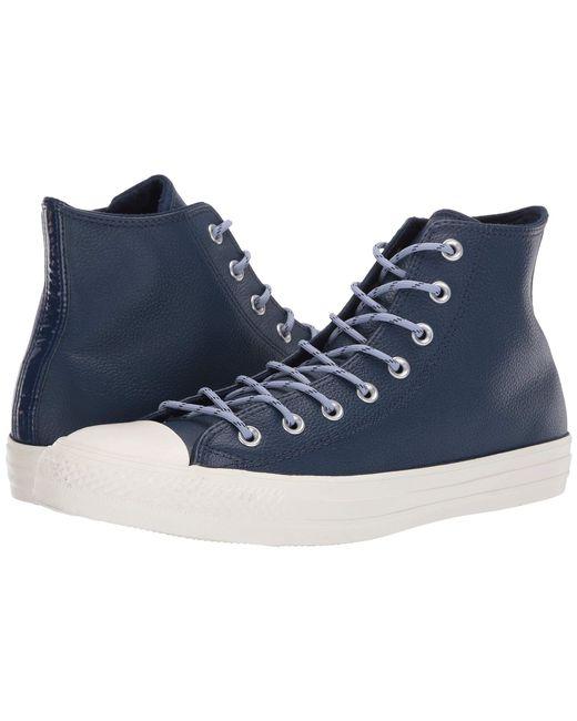 Lyst - Converse Chuck Taylor(r) All Star(r) Limo Leather Hi (navy ... eb8af6ab0