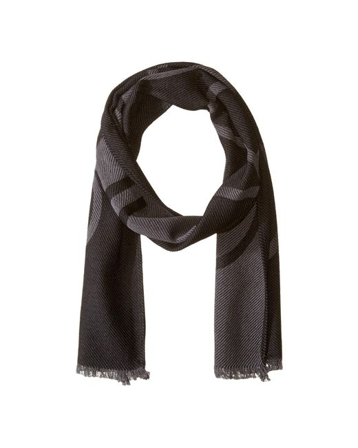 Calvin Klein - Black Woven Twill Logo Scarf (charcoal) Scarves for Men - Lyst