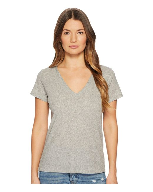 Vince - Gray Essential V-neck Top (optic White) Women's T Shirt - Lyst